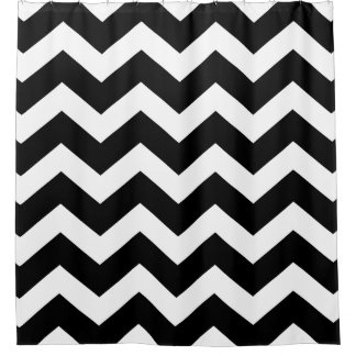 Black and White Large Chevron Pattern Shower Curtain
