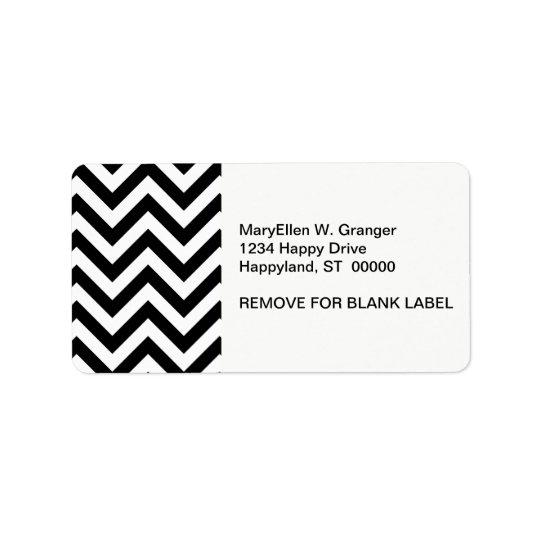 Black and White Large Chevron ZigZag Pattern Address Label