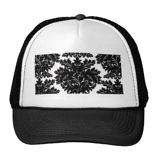 Black and White Large Damask Trucker Hat