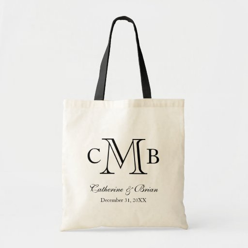 Black and White Large Monogram Wedding Favor Tote Bag