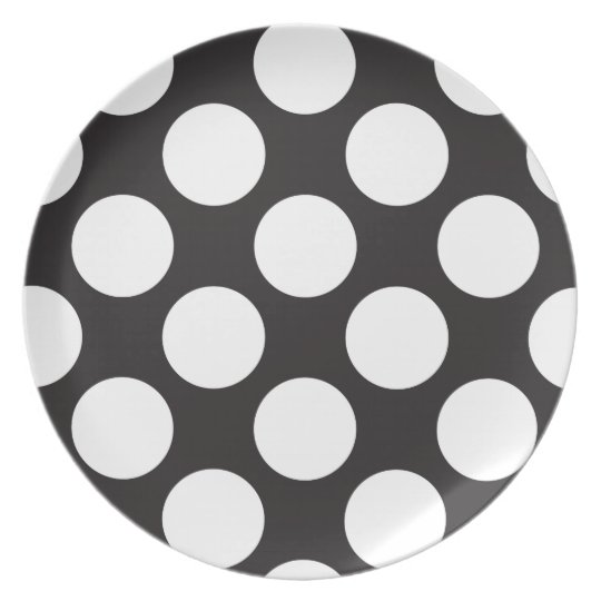 Black and White Large Polka Dots Plate