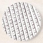 Black and white lattice fence design drink coaster