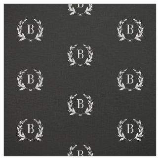 Black and White Laurel Wreath Monogram Fabric