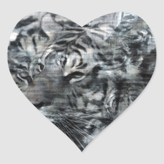 Black and White Layered Tigers Vintage Heart Sticker