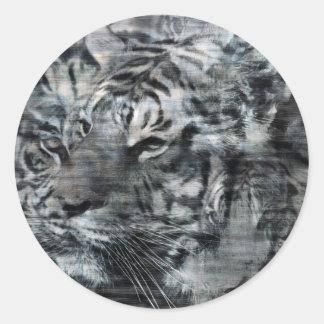 Black and White Layered Tigers Vintage Round Sticker