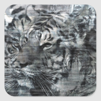 Black and White Layered Tigers Vintage Square Sticker