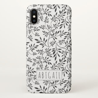 Black and white leaves pattern with name iPhone x case