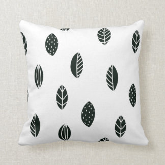 Black and White Leaves Pillow