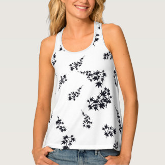Black and White Leaves Tank Top