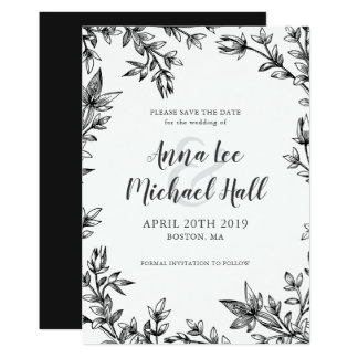Black and White Leaves Wedding Save the Date Card