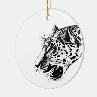 Black And White Leopard Christmas Ornament