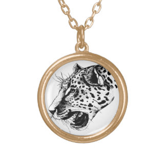 Black And White Leopard Gold Plated Necklace