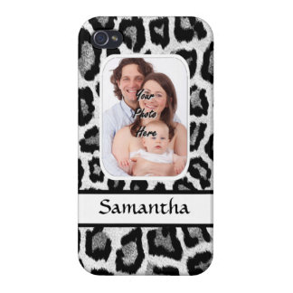 Black and white leopard print cases for iPhone 4