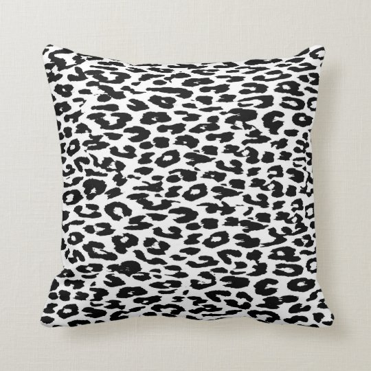Black and White Leopard Print Cushion