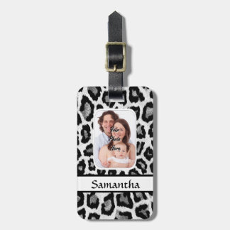Black and white leopard print luggage tag