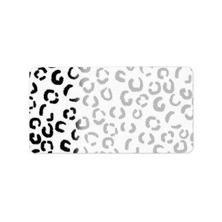 Black and White Leopard Print Pattern. Address Label