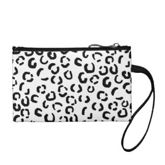 Black and White Leopard Print Pattern. Coin Purse