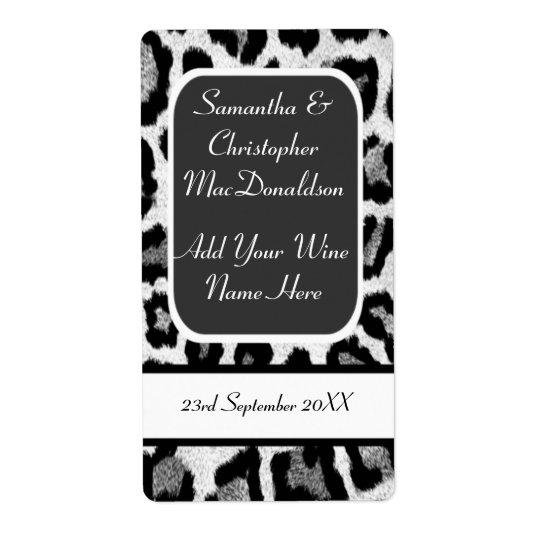 Black and white leopard print wedding wine bottle