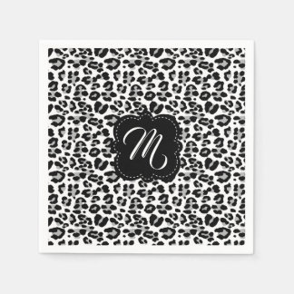 Black and White Leopard Print with Custom Monogram Disposable Serviette
