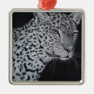 Black and white leopard sketch christmas ornament