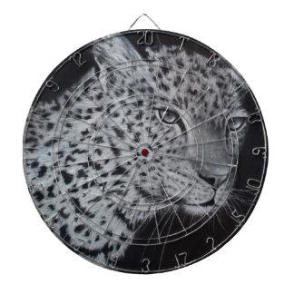 Black and white leopard sketch dartboard