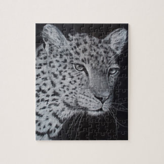 Black and white leopard sketch jigsaw puzzle