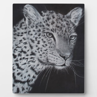Black and white leopard sketch plaque