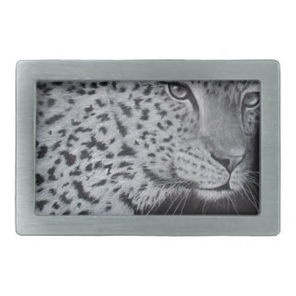 Black and white leopard sketch rectangular belt buckle