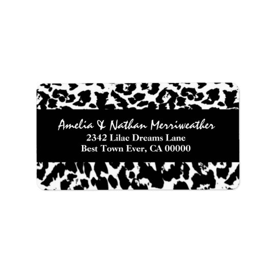 Black and White Leopard V001 Label
