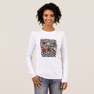 Black and White Leopard With Floral T-shirt