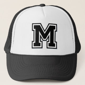 "Black and White Letter ""M"" Trucker Hat"