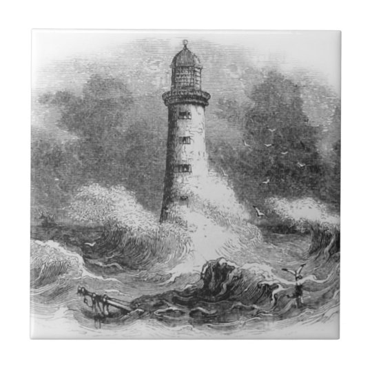 Black and White Lighthouse Etching Small Square Tile