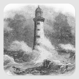 Black and White Lighthouse Etching Square Stickers