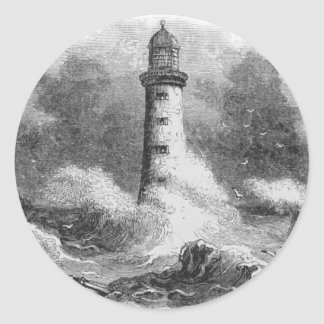 Black and White Lighthouse Etching Stickers