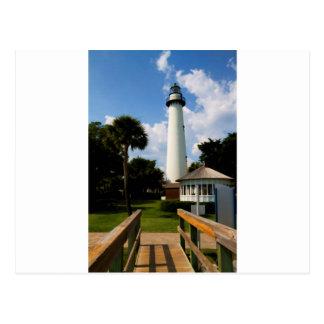 Black and White Lighthouse Jekyll Island Georgia Postcard