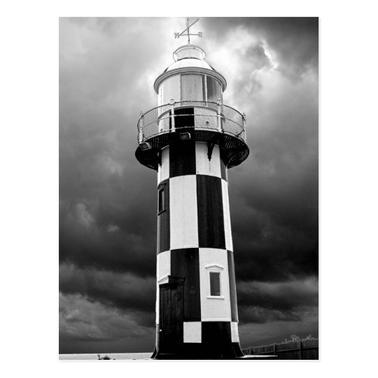 Black And White Lighthouse Postcard