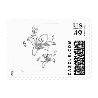 Black and White Lily Flower Art Custom Postage