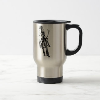 Black and White Line Drawing Polo Player Travel Mug