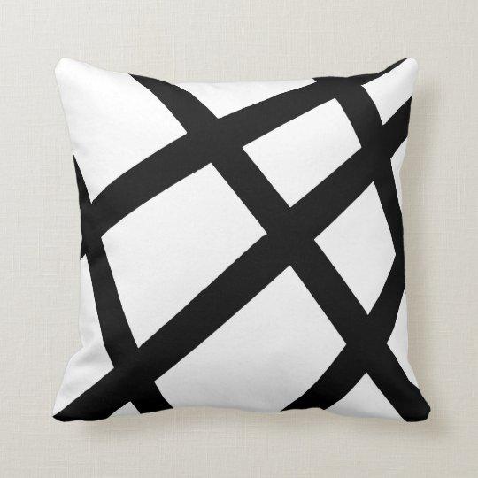 Black and White Linear Geometric 2 Cushion