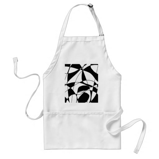 Black and White lines, block colour print pattern Aprons