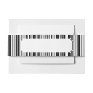 Black And White Lines Invitation Belly Band