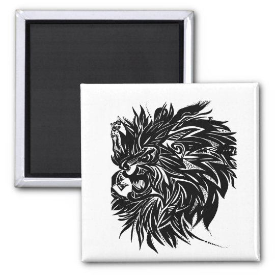Black and White Lion Printed Magnet