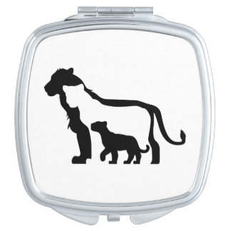 Black and White Lions Makeup Mirror