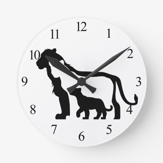 Black and White Lions Round Clock