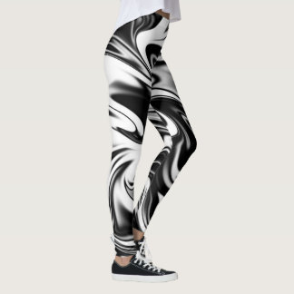 Black And White Liquefied Marble Pattern, Leggings