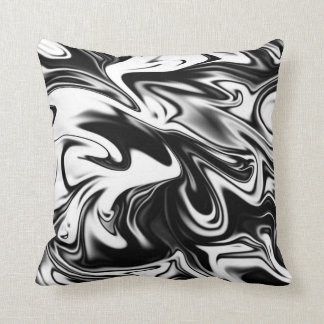 Black And White Liquefied Marble, Throw Cushion. Cushion