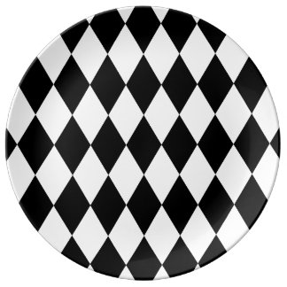 Black and White Liquorice Pattern Porcelain Plate