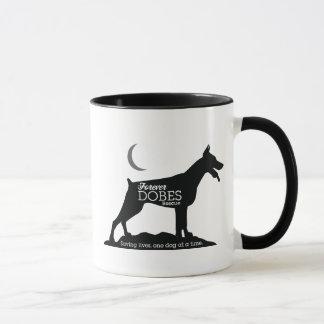 Black and white logo and mug