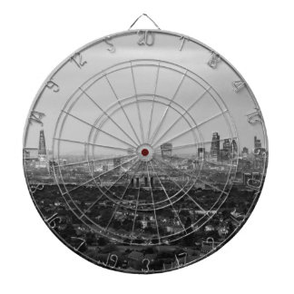 Black and White London Aerial View at Night Dartboard