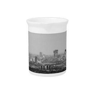 Black and White London Aerial View at Night Pitcher
